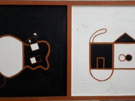 Yago, The guitar and the cat, 2002, acrylic and sand on canvas, 153×80, 171