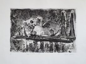 Yago, Post-apocalyptic landscape with dream, 1999, engraving on paper, 70×50, 213