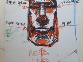 Yago, Untitled 02back, 1997-2003, permanent marker on wood, 50×76, 02back