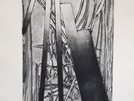 Yago, Three-dimensional drawing and surface fragments, 1999, engraving on paper, 50×70, 214